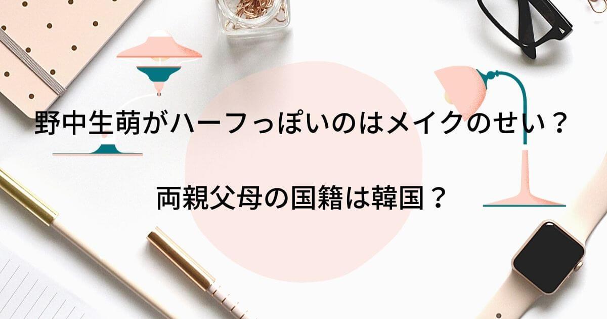 野中生萌がハーフっぽいのはメイクのせい?両親父母の国籍は韓国?